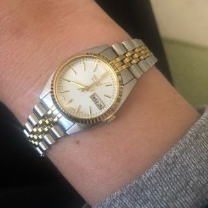 Seiko women's gold and stainless steel watch